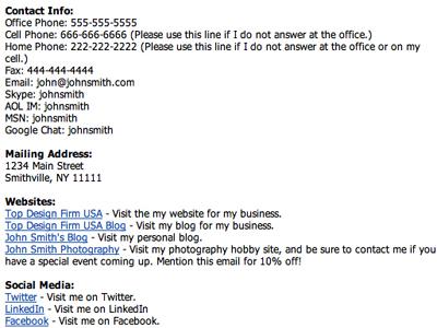 Bad Email Signature