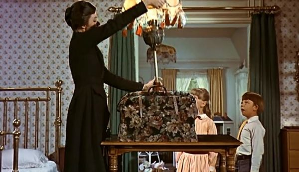 Mary Poppins unloading her never-ending bag in the movie