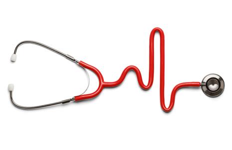 Stethoscope shaped like a heart monitor