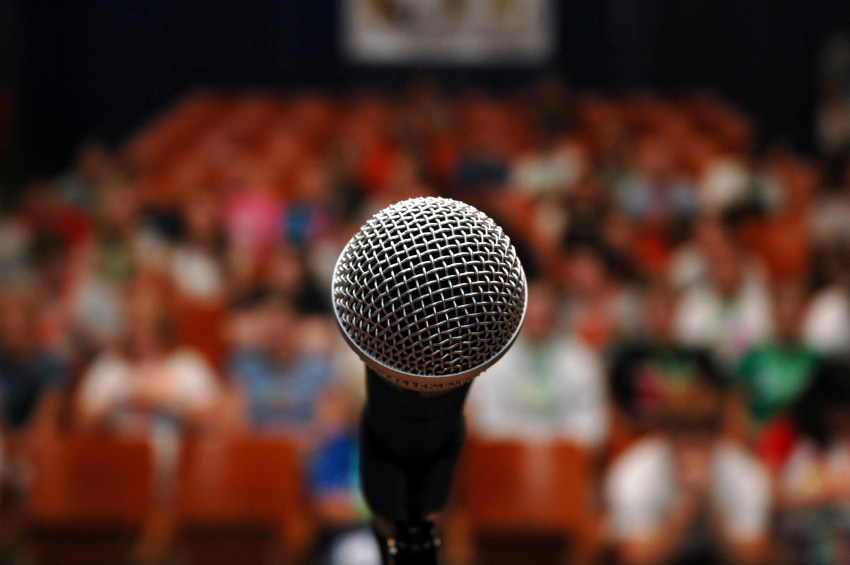 Open microphone in front of auditorium