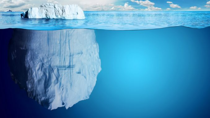 Iceberg with hidden majority under water