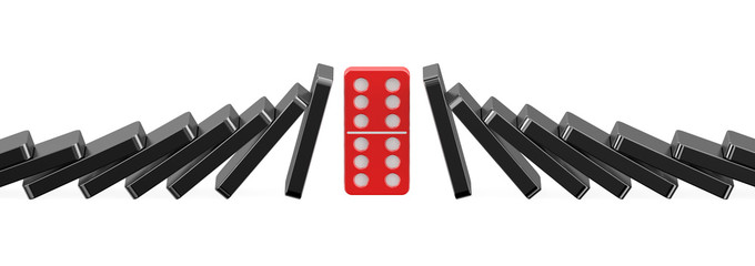 Red domino holding up falling black dominoes