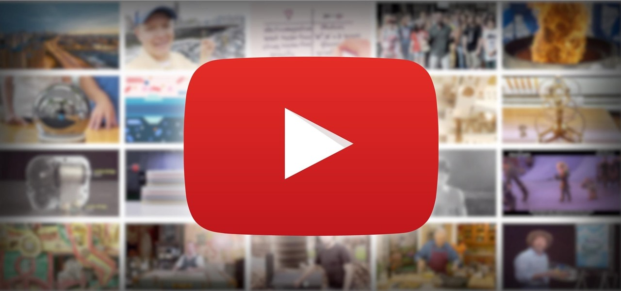 YouTube play button icon in front of faded channel images