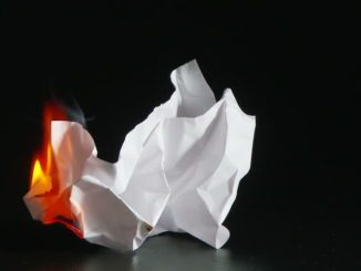 Piece of paper on fire