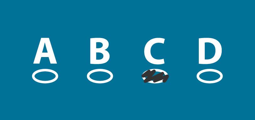 Multiple choice option letters A, B, C, D