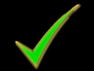 Green check in black box