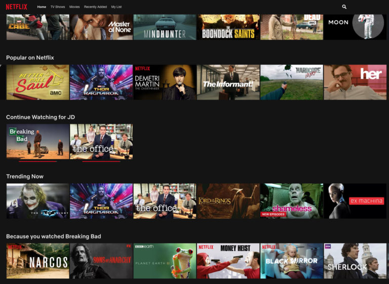 Netflix content recommendations
